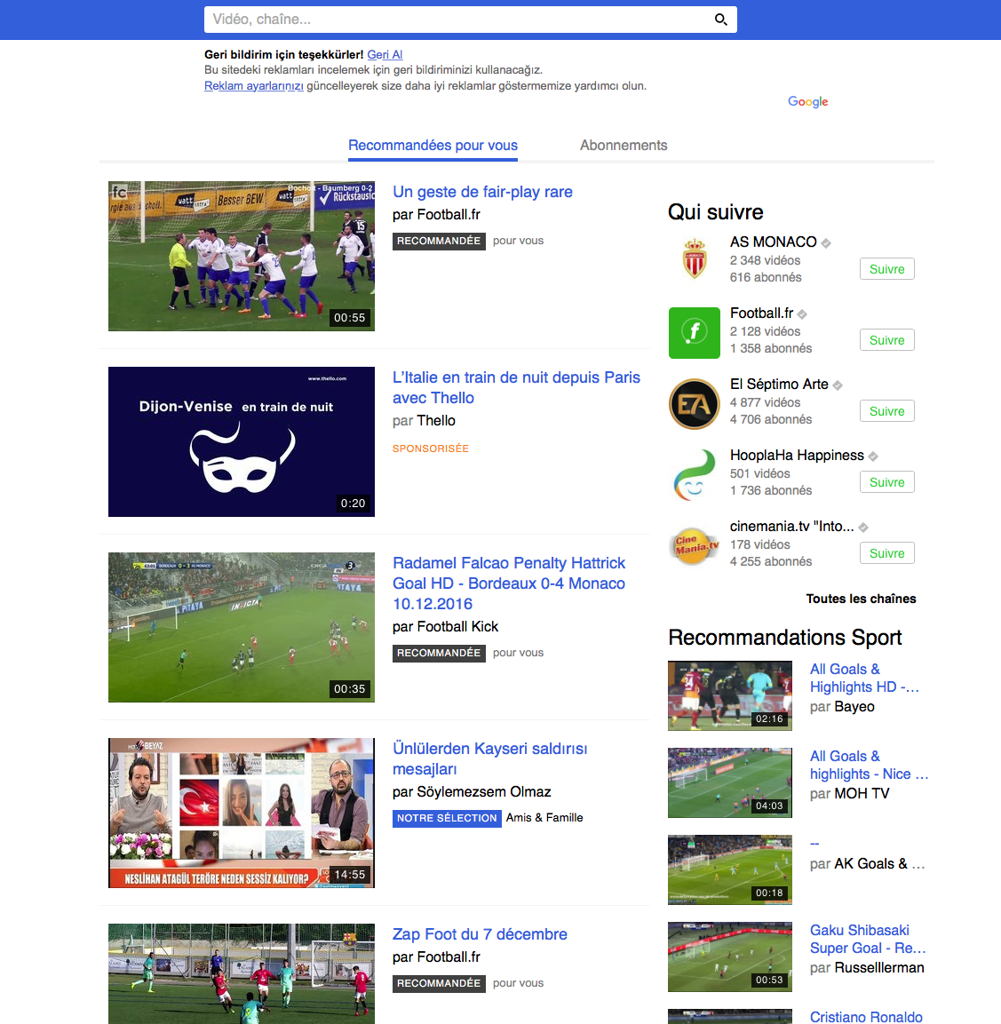 Dailymotion ホームページインターフェースのトルコ語翻訳
